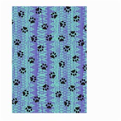 Footprints Cat Black On Batik Pattern Teal Violet Large Garden Flag (two Sides) by EDDArt