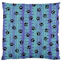 Footprints Cat Black On Batik Pattern Teal Violet Large Cushion Case (one Side) by EDDArt