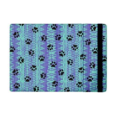 Footprints Cat Black On Batik Pattern Teal Violet Apple Ipad Mini Flip Case by EDDArt