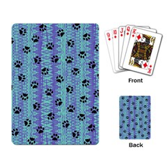 Footprints Cat Black On Batik Pattern Teal Violet Playing Card by EDDArt