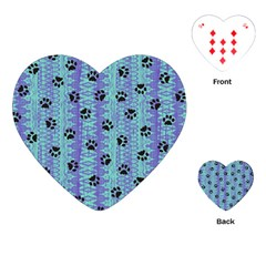 Footprints Cat Black On Batik Pattern Teal Violet Playing Cards (heart)