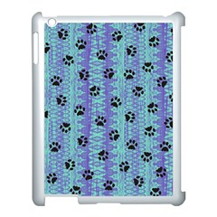 Footprints Cat Black On Batik Pattern Teal Violet Apple Ipad 3/4 Case (white) by EDDArt