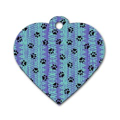 Footprints Cat Black On Batik Pattern Teal Violet Dog Tag Heart (two Sides) by EDDArt