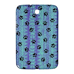 Footprints Cat Black On Batik Pattern Teal Violet Samsung Galaxy Note 8 0 N5100 Hardshell Case  by EDDArt
