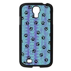 Footprints Cat Black On Batik Pattern Teal Violet Samsung Galaxy S4 I9500/ I9505 Case (black) by EDDArt