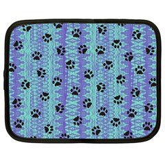 Footprints Cat Black On Batik Pattern Teal Violet Netbook Case (large)