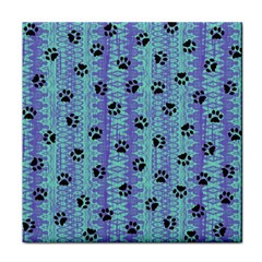Footprints Cat Black On Batik Pattern Teal Violet Face Towel by EDDArt