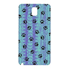 Footprints Cat Black On Batik Pattern Teal Violet Samsung Galaxy Note 3 N9005 Hardshell Back Case by EDDArt