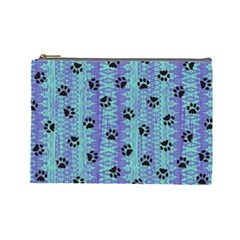Footprints Cat Black On Batik Pattern Teal Violet Cosmetic Bag (large) by EDDArt