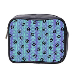 Footprints Cat Black On Batik Pattern Teal Violet Mini Toiletries Bag 2 Side