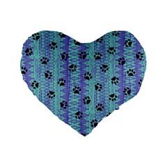 Footprints Cat Black On Batik Pattern Teal Violet Standard 16  Premium Flano Heart Shape Cushions by EDDArt