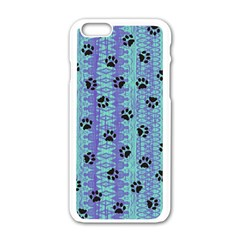 Footprints Cat Black On Batik Pattern Teal Violet Apple Iphone 6/6s White Enamel Case by EDDArt