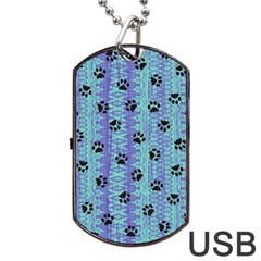 Footprints Cat Black On Batik Pattern Teal Violet Dog Tag Usb Flash (one Side) by EDDArt