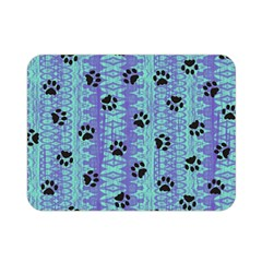 Footprints Cat Black On Batik Pattern Teal Violet Double Sided Flano Blanket (mini)  by EDDArt