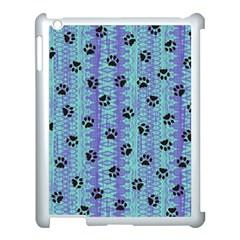 Footprints Cat Black On Batik Pattern Teal Violet Apple Ipad 3/4 Case (white) by EDDArt