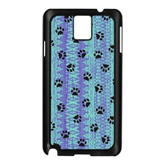 Footprints Cat Black On Batik Pattern Teal Violet Samsung Galaxy Note 3 N9005 Case (black) by EDDArt
