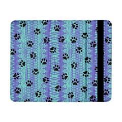 Footprints Cat Black On Batik Pattern Teal Violet Samsung Galaxy Tab Pro 8 4  Flip Case by EDDArt