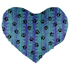 Footprints Cat Black On Batik Pattern Teal Violet Large 19  Premium Flano Heart Shape Cushions by EDDArt