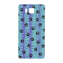 Footprints Cat Black On Batik Pattern Teal Violet Samsung Galaxy Alpha Hardshell Back Case by EDDArt