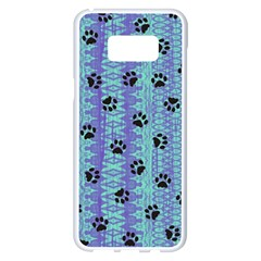 Footprints Cat Black On Batik Pattern Teal Violet Samsung Galaxy S8 Plus White Seamless Case by EDDArt