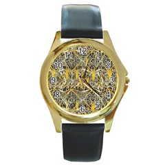 Gold And Black Geometric Designs Created By Flipstylez Designs Round Gold Metal Watch by flipstylezdes