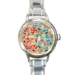 Hipster Triangles And Funny Cats Cut Pattern Round Italian Charm Watch by EDDArt