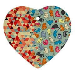 Hipster Triangles And Funny Cats Cut Pattern Ornament (heart) by EDDArt