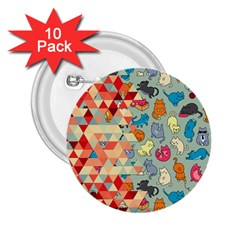 Hipster Triangles And Funny Cats Cut Pattern 2 25  Buttons (10 Pack)