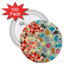 Hipster Triangles And Funny Cats Cut Pattern 2 25  Buttons (100 Pack)  by EDDArt