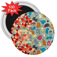 Hipster Triangles And Funny Cats Cut Pattern 3  Magnets (100 Pack)