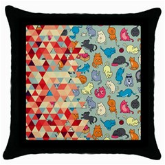 Hipster Triangles And Funny Cats Cut Pattern Throw Pillow Case (black) by EDDArt
