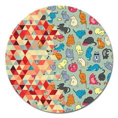 Hipster Triangles And Funny Cats Cut Pattern Magnet 5  (round)