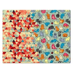 Hipster Triangles And Funny Cats Cut Pattern Rectangular Jigsaw Puzzl by EDDArt