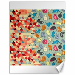 Hipster Triangles And Funny Cats Cut Pattern Canvas 18  X 24   by EDDArt