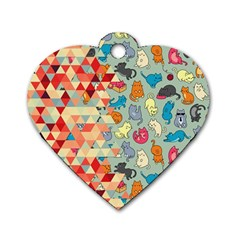 Hipster Triangles And Funny Cats Cut Pattern Dog Tag Heart (one Side) by EDDArt
