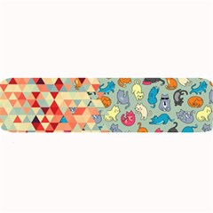 Hipster Triangles And Funny Cats Cut Pattern Large Bar Mats by EDDArt