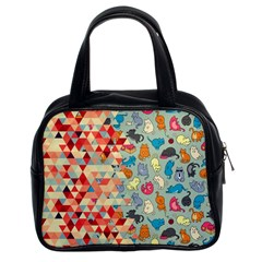 Hipster Triangles And Funny Cats Cut Pattern Classic Handbags (2 Sides)