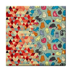 Hipster Triangles And Funny Cats Cut Pattern Face Towel by EDDArt
