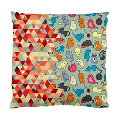 Hipster Triangles And Funny Cats Cut Pattern Standard Cushion Case (one Side)