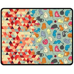 Hipster Triangles And Funny Cats Cut Pattern Fleece Blanket (medium)  by EDDArt