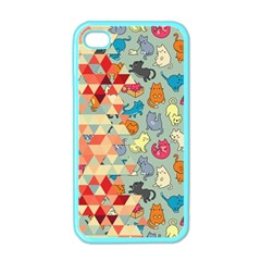 Hipster Triangles And Funny Cats Cut Pattern Apple Iphone 4 Case (color) by EDDArt