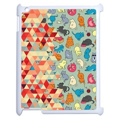 Hipster Triangles And Funny Cats Cut Pattern Apple Ipad 2 Case (white) by EDDArt