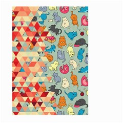 Hipster Triangles And Funny Cats Cut Pattern Large Garden Flag (two Sides) by EDDArt