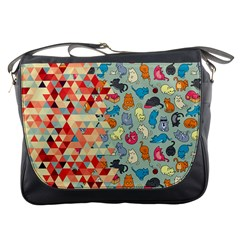 Hipster Triangles And Funny Cats Cut Pattern Messenger Bags by EDDArt