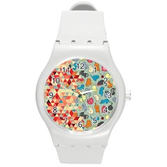 Hipster Triangles And Funny Cats Cut Pattern Round Plastic Sport Watch (m) by EDDArt