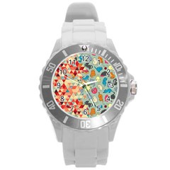 Hipster Triangles And Funny Cats Cut Pattern Round Plastic Sport Watch (l) by EDDArt