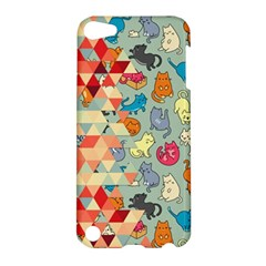 Hipster Triangles And Funny Cats Cut Pattern Apple Ipod Touch 5 Hardshell Case by EDDArt