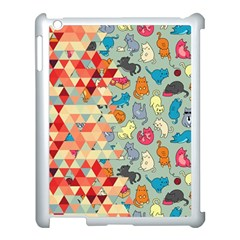 Hipster Triangles And Funny Cats Cut Pattern Apple Ipad 3/4 Case (white) by EDDArt