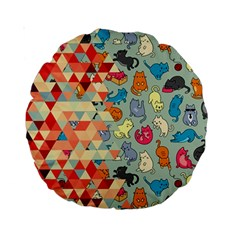 Hipster Triangles And Funny Cats Cut Pattern Standard 15  Premium Round Cushions by EDDArt