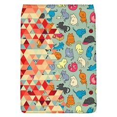 Hipster Triangles And Funny Cats Cut Pattern Flap Covers (l)  by EDDArt